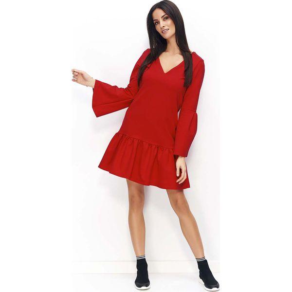 532336f099 Czerwona Sukienka z Falbanką na Dole i Poszerzonymi Rękawami ...
