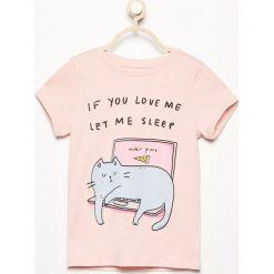T-shirt z kocim nadrukiem - Różowy. T-shirty damskie marki bonprix. W wyprzedaży za 14.99 zł.