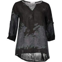 Lniana koszulka w kolorze czarnym. T-shirty damskie William de Faye, z nadrukiem, klasyczne, z asymetrycznym kołnierzem, z długim rękawem. W wyprzedaży za 108.95 zł.