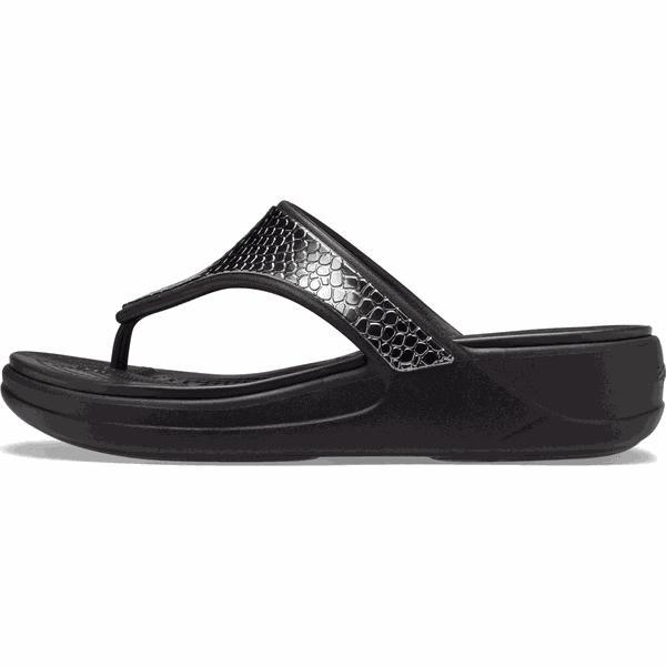 Crocs japonki damskie Monterey Metallic Wedge Flip (206303 0GQ) 3738 czarne