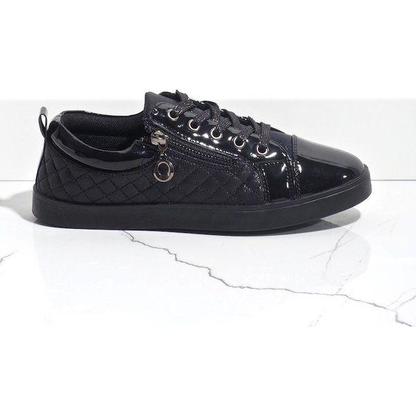 Czarne modne trampki damskie R19 11
