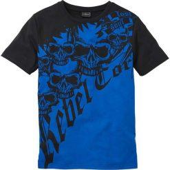 T-shirt Slim Fit bonprix lazurowo-czarny. Niebieskie t-shirty męskie bonprix, z nadrukiem. Za 34.99 zł.