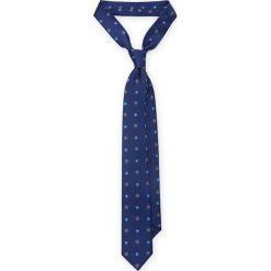 KRAWAT GRANATOWY W KWIATKI. Niebieskie krawaty i muchy LANCERTO, w kwiaty, z jedwabiu, eleganckie. Za 139.90 zł.