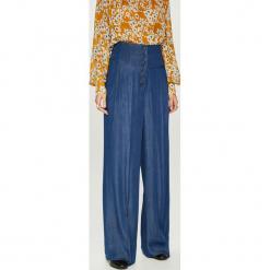 Answear - Spodnie Heritage. Niebieskie spodnie materiałowe damskie ANSWEAR, z materiału. Za 199.90 zł.