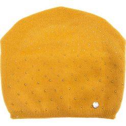 Musztardowa czapka z dżetami QUIOSQUE. Czarne czapki i kapelusze damskie QUIOSQUE, z wełny. Za 79.99 zł.