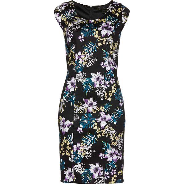 ac511108cb Sukienka ołówkowa bonprix czarno-niebieskozielony z nadrukiem ...