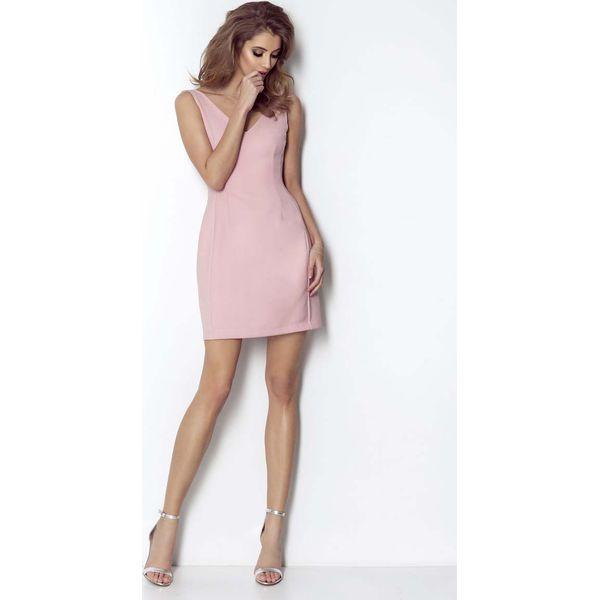 7f6815d9 Różowa Wyjściowa Lekko Rozkloszowana Sukienka z Dekoltem na Plecach