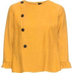 Bluzka z guzikami bonprix żółty musztardowy. Żółte bluzki damskie bonprix. Za 89.99 zł.