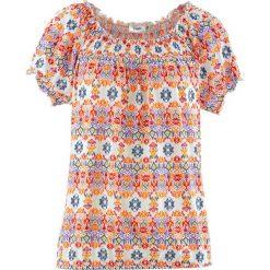T-shirt bawełniany z gumką, krótki rękaw bonprix biały z nadrukiem. T-shirty damskie marki DOMYOS. Za 44.99 zł.