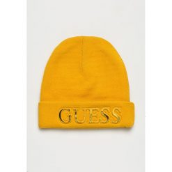 Guess Jeans - Czapka. Pomarańczowe czapki i kapelusze damskie Guess Jeans, z dzianiny. Za 189.90 zł.