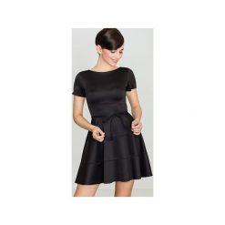 Sukienka K090 Czarny. Czarne sukienki damskie Lenitif, z krótkim rękawem. Za 129.00 zł.