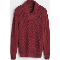 Gruby sweter z kołnierzem - Bordowy. Swetry przez głowę męskie marki Giacomo Conti. W wyprzedaży za 79.99 zł.