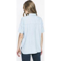 Hilfiger Denim - Koszula. Szare koszule damskie Hilfiger Denim, z bawełny, casualowe, z krótkim rękawem. W wyprzedaży za 219.90 zł.