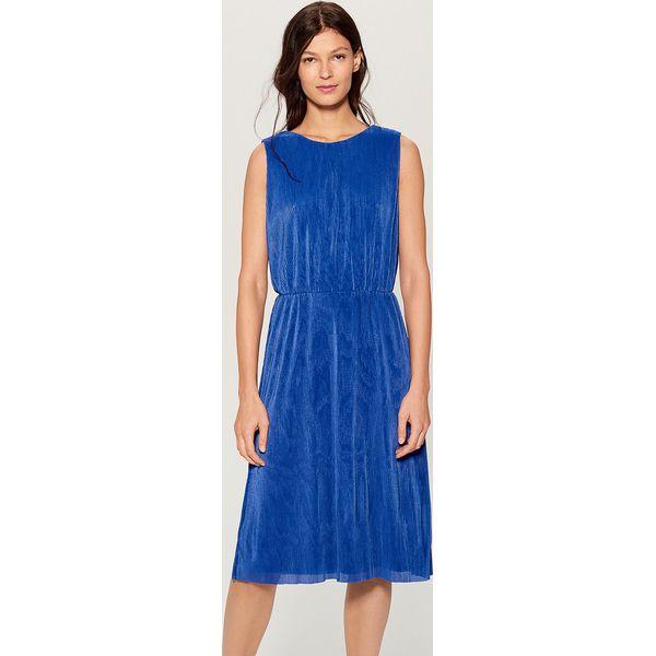 4850379600 Sukienka midi z dekoltem na plecach - Niebieski - Niebieskie ...