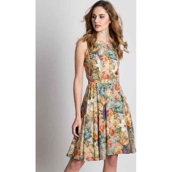 293480fefc Sukienka w kwiaty odcinana w talii z podszewką BIALCON - Brązowe ...