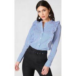 Rut&Circle Koszula w paski Malina - Blue,Multicolor. Niebieskie koszule damskie Rut&Circle, w paski, klasyczne, z falbankami, z długim rękawem. Za 145.95 zł.