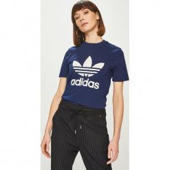 Adidas Originals - Top. Szare topy damskie adidas Originals, z nadrukiem, z bawełny, z okrągłym kołnierzem, z krótkim rękawem. Za 129.90 zł.