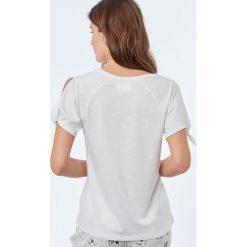 Etam - Top piżamowy. Szare piżamy damskie Etam, z nadrukiem, z bawełny. W wyprzedaży za 39.90 zł.
