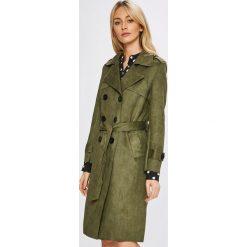 Answear - Płaszcz. Brązowe płaszcze damskie ANSWEAR, w paski, z materiału, klasyczne. W wyprzedaży za 169.90 zł.