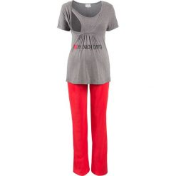Piżama dla ciężarnych i karmiących (2 części) bonprix szary melanż - czerwony. Piżamy damskie marki bonprix. Za 89.99 zł.