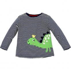 """Koszulka """"Dino"""" w kolorze granatowym. Niebieskie bluzki dla dziewczynek Bondi, z aplikacjami, z bawełny, z okrągłym kołnierzem, z długim rękawem. W wyprzedaży za 32.95 zł."""