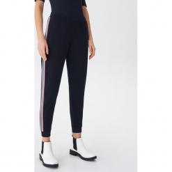 Spodnie z lampasami - Granatowy. Niebieskie spodnie materiałowe damskie House. Za 79.99 zł.