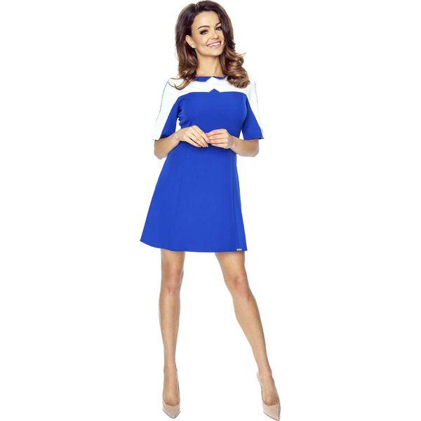 97afc2a74e597 Chabrowa Sukienka Wizytowa z Kremowym Panelem - Niebieskie sukienki ...