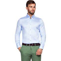 Koszula Niebieska Maia 2. Niebieskie koszule męskie LANCERTO, z haftami, z bawełny, z kontrastowym kołnierzykiem. Za 299.90 zł.