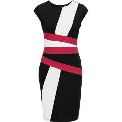 Sukienka z nadrukiem bonprix biało-czarno-jeżynowy. Białe sukienki damskie bonprix, z nadrukiem. Za 129.99 zł.