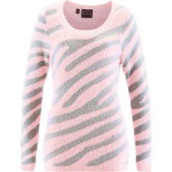 Sweter bonprix pastelowy jasnoróżowy - srebrny wzorzysty. Swetry damskie marki bonprix. Za 49.99 zł.