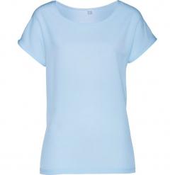 Bluzka shirtowa bonprix lodowy niebieski. Niebieskie bluzki damskie bonprix, z satyny. Za 54.99 zł.