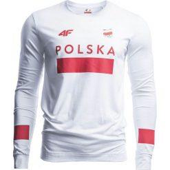 Longsleeve męski Polska Pyeongchang 2018 TSML210 - BIAŁY. Białe bluzki z długim rękawem męskie 4f, z napisami, z bawełny. Za 169.90 zł.