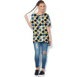 Colour Pleasure Koszulka CP-033  4 biało-granatowo-żółta r. uniwersalny. Bluzki damskie Colour Pleasure. Za 76.57 zł.