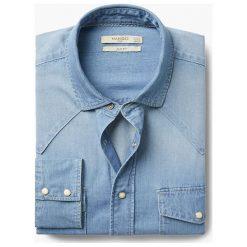 Mango Man - Koszula David3. Niebieskie koszule męskie Mango Man, z bawełny, z włoskim kołnierzykiem, z długim rękawem. W wyprzedaży za 89.90 zł.