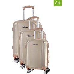 Zestaw walizek w kolorze beżowym - 3 szt. Walizki męskie Platinium, z materiału. W wyprzedaży za 649.95 zł.