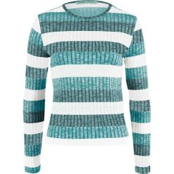 Sweter w prążek, w paski bonprix biel wełny - dymny szmaragdowy w paski. Swetry damskie marki bonprix. Za 59.99 zł.