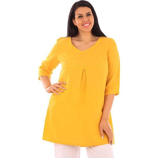 b26a4a06d1 Lniana tunika w kolorze żółtym - Chillizet.pl