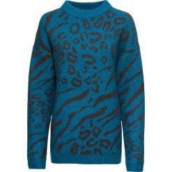 Sweter w cętki leoparda: MUST HAVE bonprix niebieski oceaniczny leo. Swetry damskie marki bonprix. Za 99.99 zł.