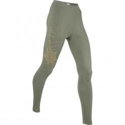 Legginsy, długie LEVEL1 bonprix oliwkowy. Zielone legginsy damskie bonprix, w paski. Za 74.99 zł.