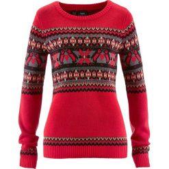 Sweter z okrągłym dekoltem bonprix czerwony wzorzysty. Swetry damskie marki KALENJI. Za 99.99 zł.