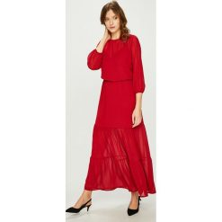 Answear - Sukienka. Szare sukienki damskie ANSWEAR, z materiału, casualowe, z okrągłym kołnierzem. Za 149.90 zł.