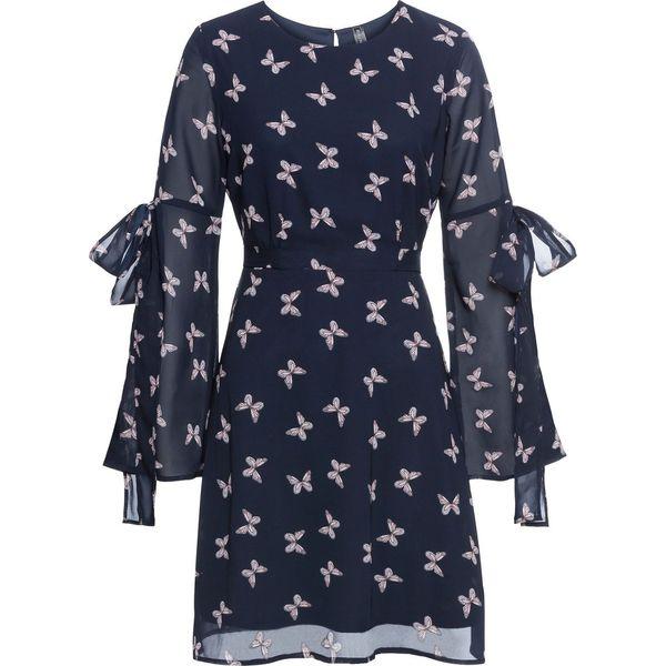 307bfd5675 Sukienka szyfonowa w motyle bonprix ciemnoniebieski w motyle ...