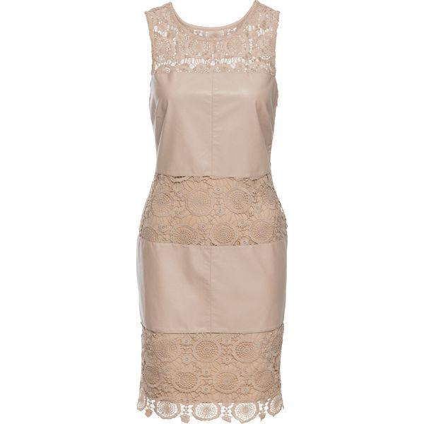 57313c0304 Sukienka z materiału w optyce skóry bonprix piaskowy - Sukienki ...