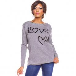 """Sweter """"Love"""" w kolorze szarym. Szare swetry damskie So Cachemire, z kaszmiru, z okrągłym kołnierzem. W wyprzedaży za 173.95 zł."""