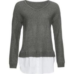 Sweter z koszulową wstawką bonprix szaro-zielony melanż. Swetry damskie marki bonprix. Za 59.99 zł.