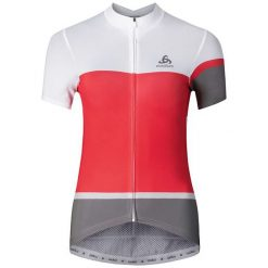 Odlo Koszulka Stand-up collar s/s KAMIKAZE biało-czerwono-szara r. S (411161). Bluzki damskie Odlo. Za 245.61 zł.
