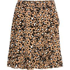 Spódnica w cętki leoparda z falbanami bonprix brązowy leo. Brązowe spódnice damskie bonprix, w kolorowe wzory. Za 99.99 zł.
