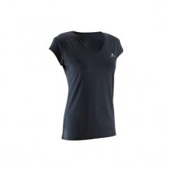 Koszulka fitness krótki rękaw 100 damska. Czarne koszulki sportowe damskie DOMYOS, z elastanu, z krótkim rękawem. Za 19.99 zł.