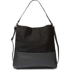 Torba shopper ze sztucznej skóry welurowej bonprix czarny. Czarne torebki shopper damskie bonprix, w paski, ze skóry. Za 99.99 zł.