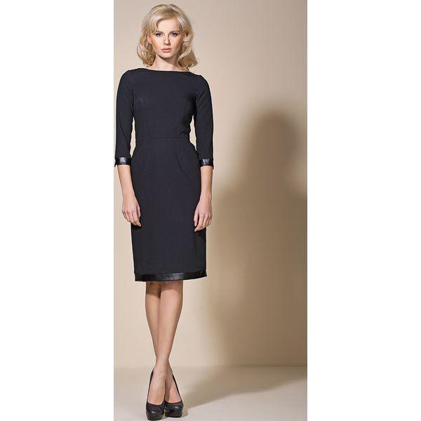 d6f3f00d17 Czarna Klasyczna Sukienka z Lamówkami - Sukienki damskie marki Molly ...